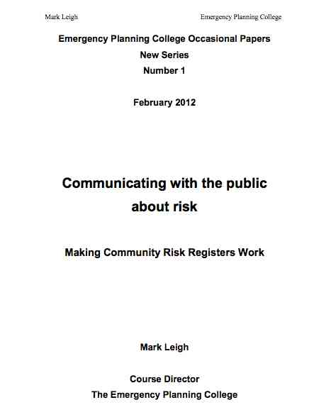 Emergency Planning College - Community Risk Registers