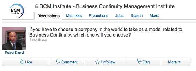 linkedin conversation about best business continuity programmes